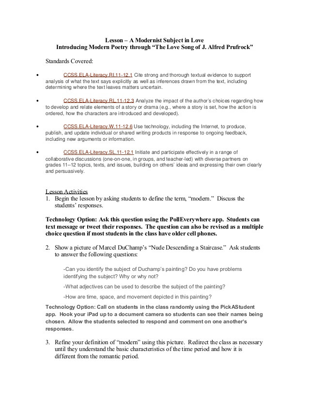 Prufrock Analysis Worksheet Answers Mobile Lesson Plan