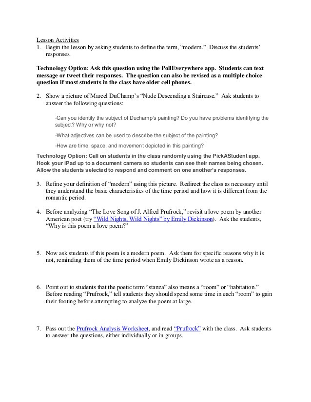 Prufrock Analysis Worksheet Answers Poem Prufrock Analysis Worksheet Answers