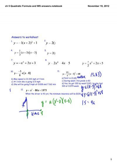 Quadratic formula Worksheet with Answers Ch 5 Quadratic formula and Ws Answerstebook