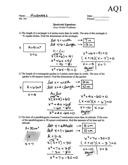 Quadratic formula Worksheet with Answers Quadratic Equation Problems with Answers Tessshebaylo