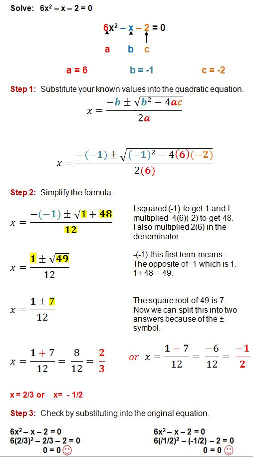 Quadratic formula Worksheet with Answers Quadratic formula