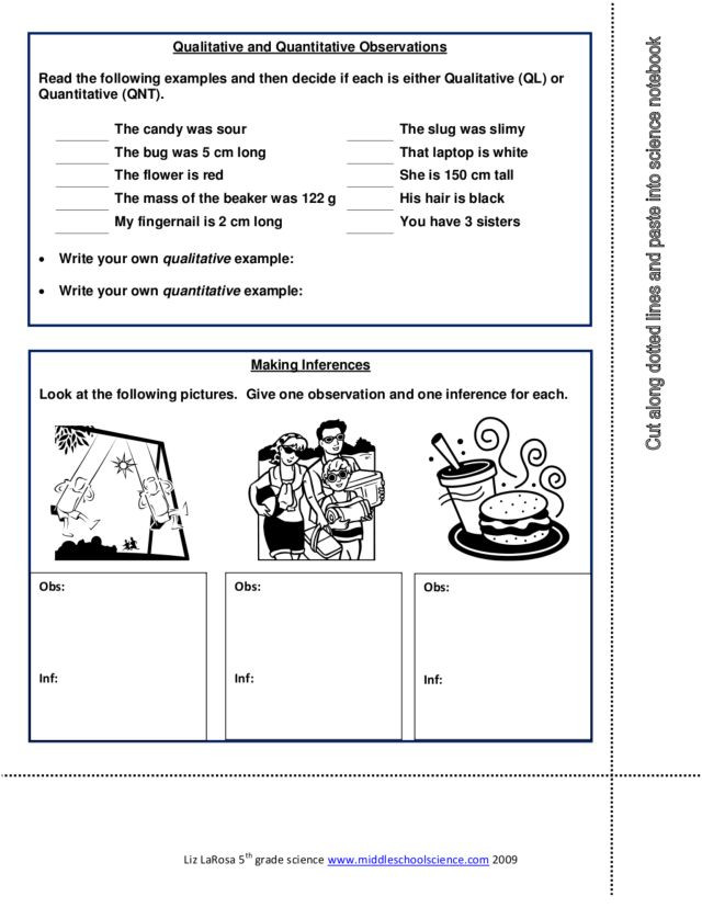 Qualitative Vs Quantitative Worksheet Qualitative and Quantitative Observations Worksheet for 7th