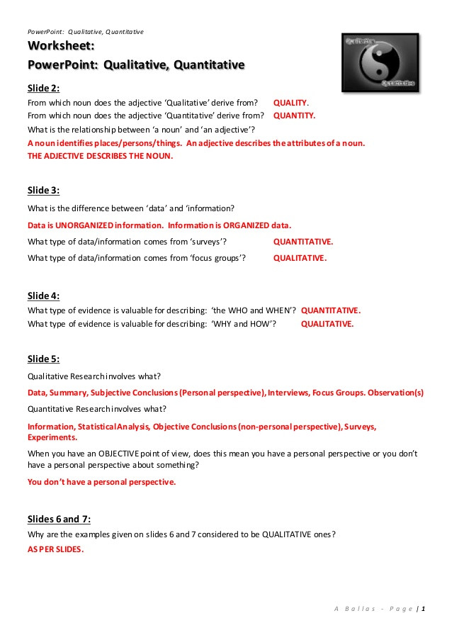 Qualitative Vs Quantitative Worksheet Worksheet [answers] Qualitative Quantitative Powerpoint