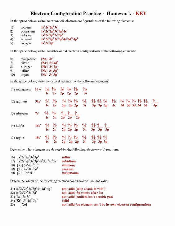 Quantum Numbers Worksheet Answers Electron Configuration Worksheet Answers Key Best