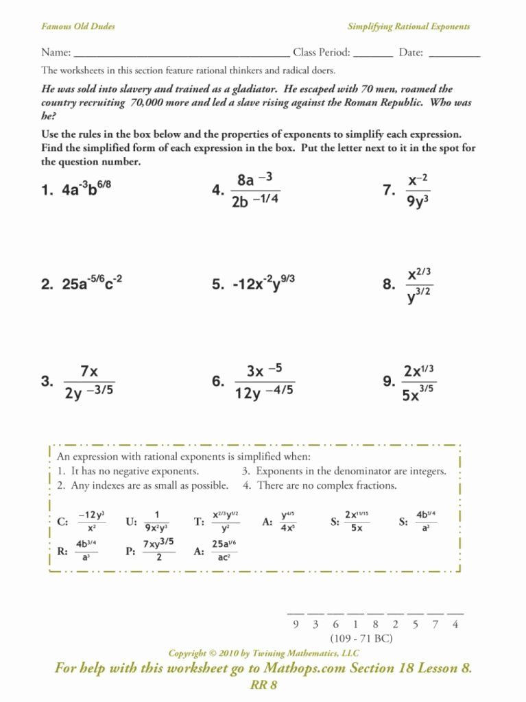Rational Exponents and Radicals Worksheet 50 Radical and Rational Exponents Worksheet In 2020