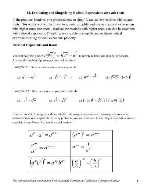 Rational Exponents and Radicals Worksheet Evaluating & Simplifying Radical Expressions with N Th Root