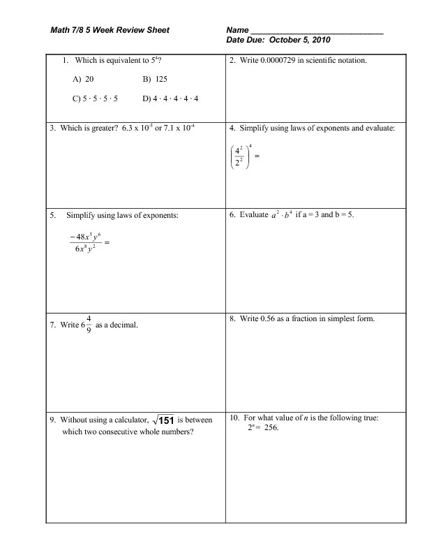 Rational Exponents and Radicals Worksheet Math 7 8 Week Review Sheet Exponents Radicals Rational
