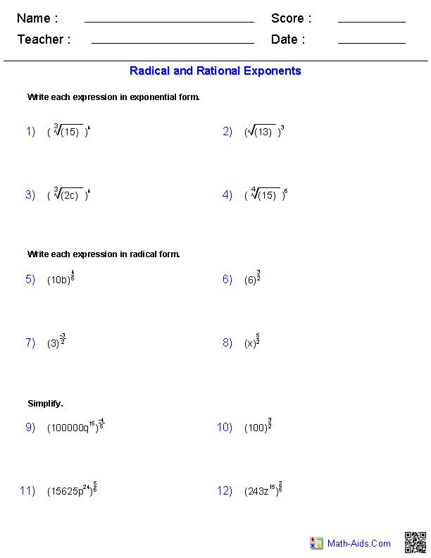 Rational Exponents and Radicals Worksheet Radical and Rational Exponents Worksheets