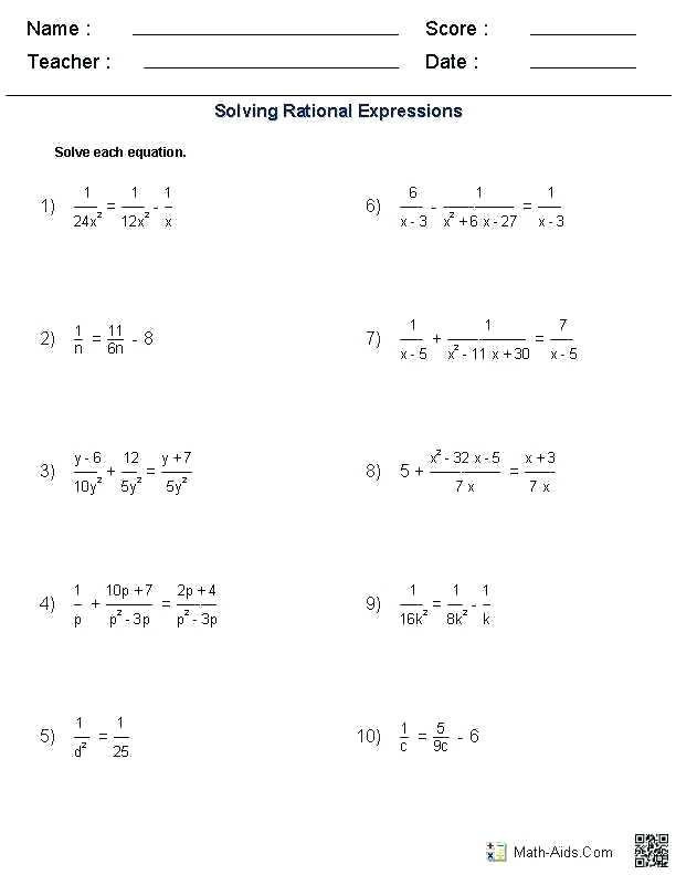 Rational Expressions Worksheet Answers Radical Equations Worksheet In 2020