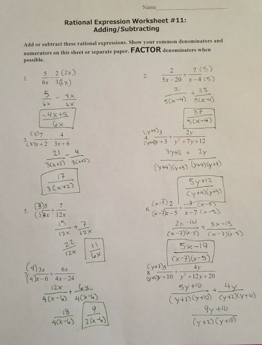 Rational Expressions Worksheet Answers solved Name Rational Expression Worksheet 11 Adding Sub