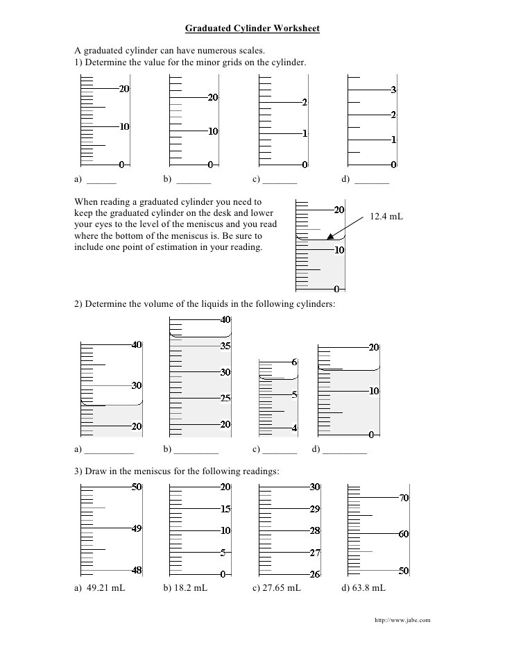 Reading Graduated Cylinders Worksheet Graduated Cylinder Worksheet