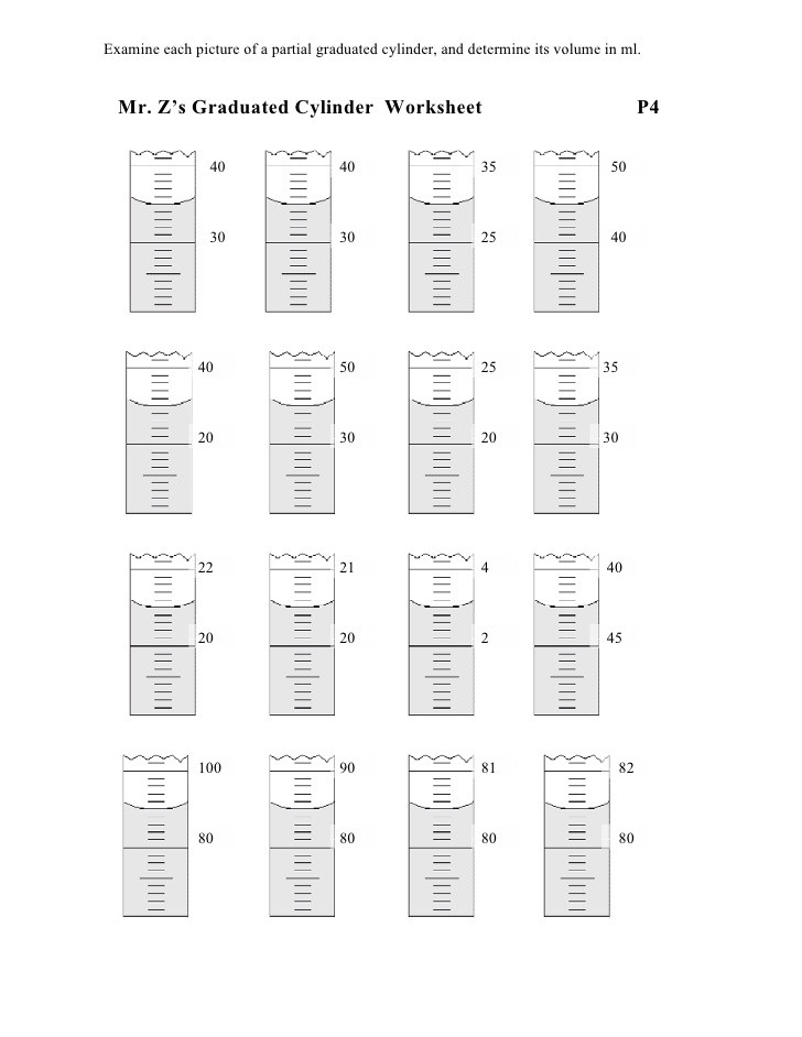 Reading Graduated Cylinders Worksheet Volume Ws