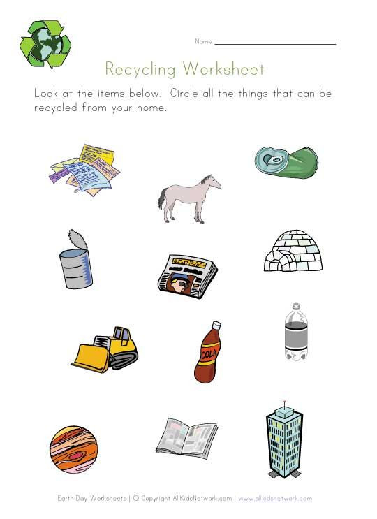 Recycle Worksheets for Preschoolers Earth Day Worksheets