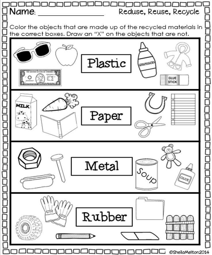 Recycle Worksheets for Preschoolers Reduce Reuse Recycle