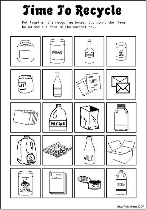 Recycle Worksheets for Preschoolers Time to Recycle Earth Day Worksheet