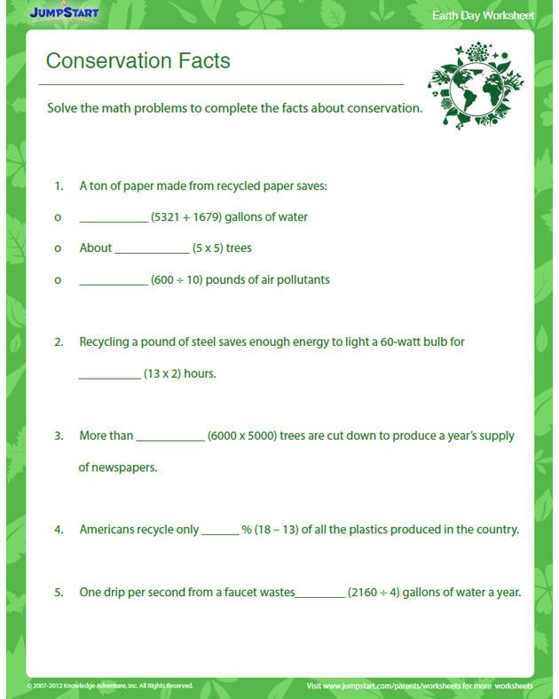 Recycling Worksheets for Middle School Conservation Facts – Earth Day Worksheet for Grade 4