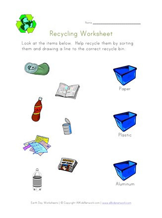 Recycling Worksheets for Middle School Recycle Worksheets for Kindergarten sort and Recycle