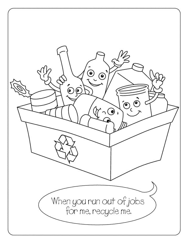 Recycling Worksheets for Preschoolers Recycling Coloring Page for Kids Free Printable Picture