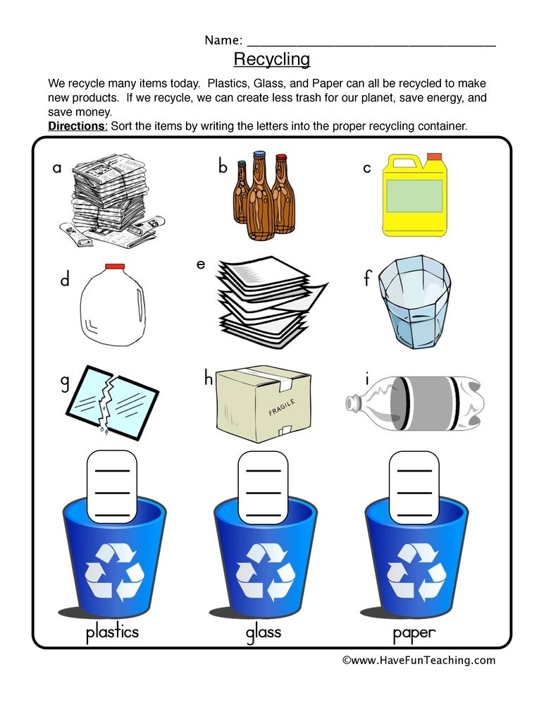 Recycling Worksheets for Preschoolers Recycling sort Worksheet