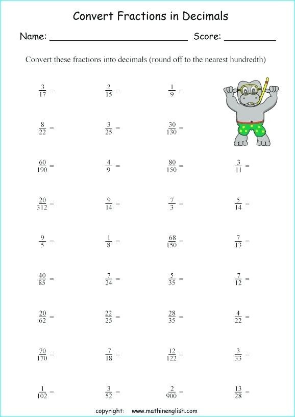 Repeating Decimal to Fraction Worksheet Converting Repeating Decimals Into Fractions Worksheet لم