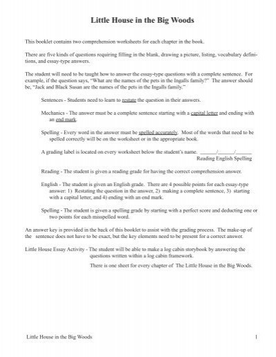 Restating the Question Worksheet Little House In the Big Woods Pdf Sample Logos Press
