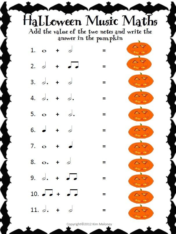 Rhythm Worksheets for Middle School Halloween Music Activities Music Math Worksheets