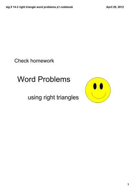 Right Triangle Word Problems Worksheet Alg Ii Word Problems Trig Pdf