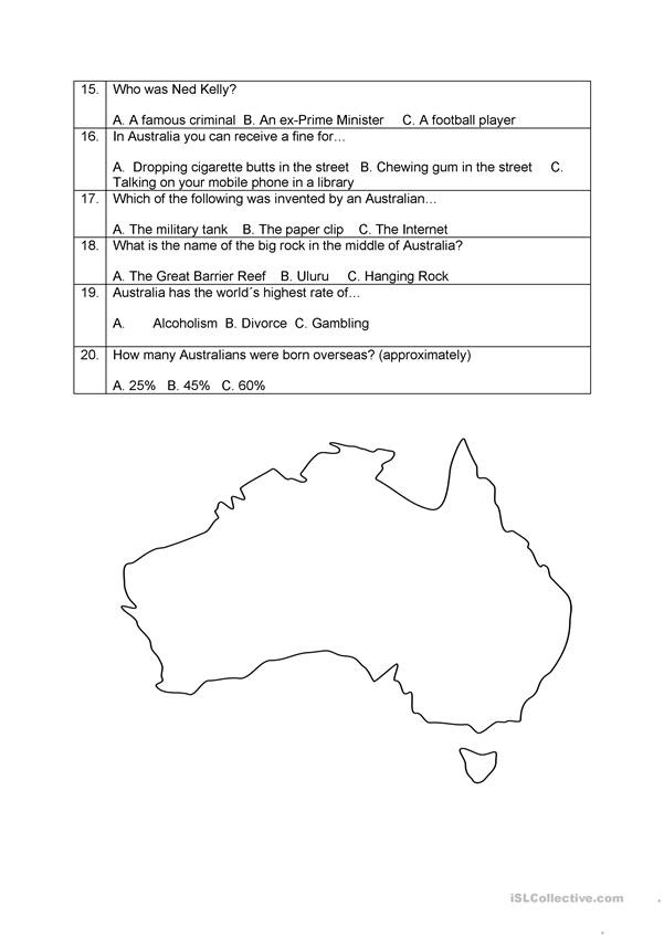 Rock Cycle Worksheet Middle School the Great Australian Quiz English Esl Worksheets for
