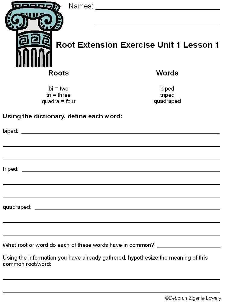 Root Word Worksheets Middle School Greek and Latin Root Extension Exercise