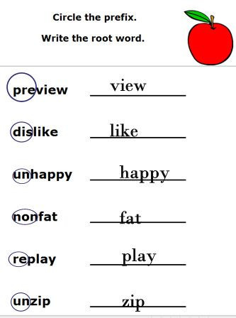 Root Word Worksheets Middle School Prefixes Suffixes and Root Words Worksheets