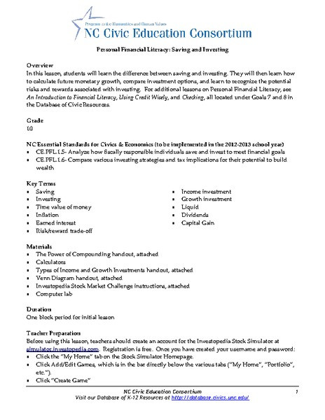 Saving and Investing Worksheet Personal Financial Literacy Saving and Investing Lesson