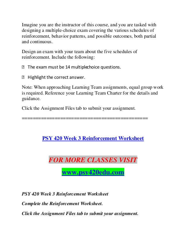 Schedules Of Reinforcement Worksheet Psy 420 Edu Education Planning Psy420edu