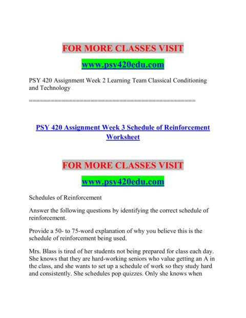 Schedules Of Reinforcement Worksheet Psy 420 Edu Your Dreams Our Mission Psy420edu Pages 1