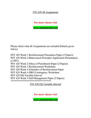 Schedules Of Reinforcement Worksheet Psy 420 Teaching Effectively Snaptutorial by T A