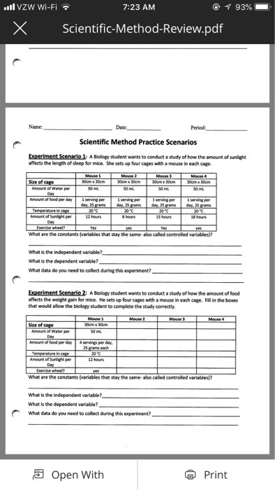Scientific Method Review Worksheet Answers L Vzw Wi Fi 7 23 Am Xscientific Method Review