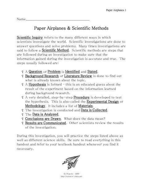 Scientific Method Review Worksheet Answers Paper Airplanes and Scientific Methods Worksheet for 7th