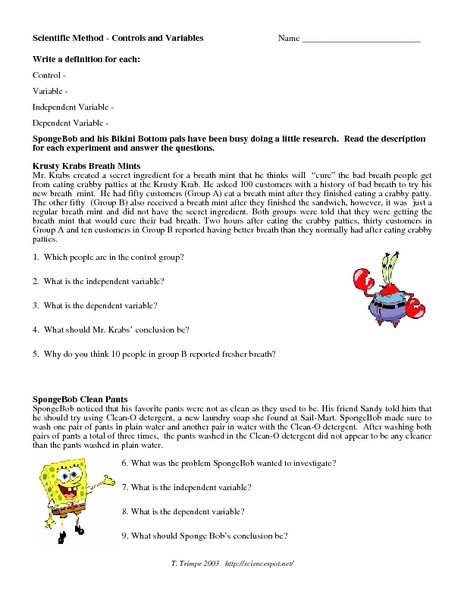 Scientific Method Review Worksheet Answers Scientific Method Control and Variables Worksheet for 5th