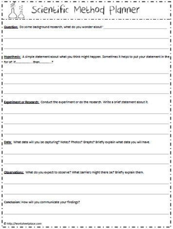 Scientific Method Worksheet 5th Grade Scientific Method Planner