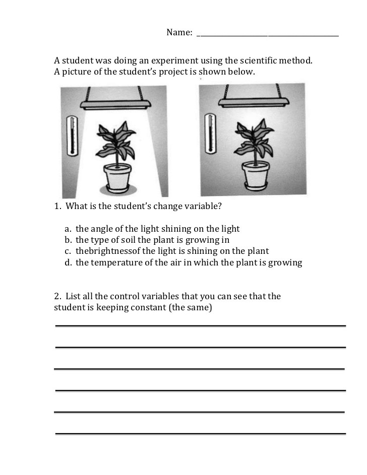 Scientific Method Worksheet 5th Grade Scientific Method Variables Worksheet