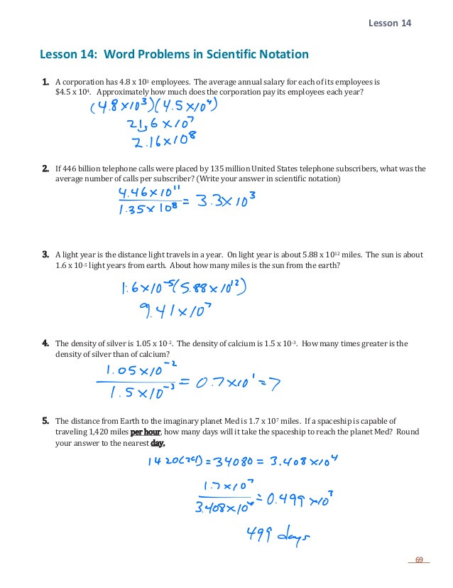 Scientific Notation Worksheet Answers E 1 Lesson 14 Word Problems with Scientific Notation