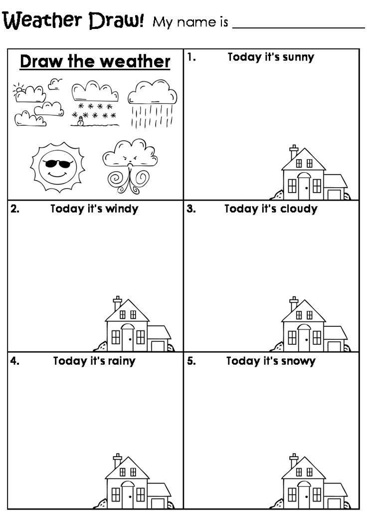 Seasons Worksheets for Preschoolers Draw the Weather Worksheet