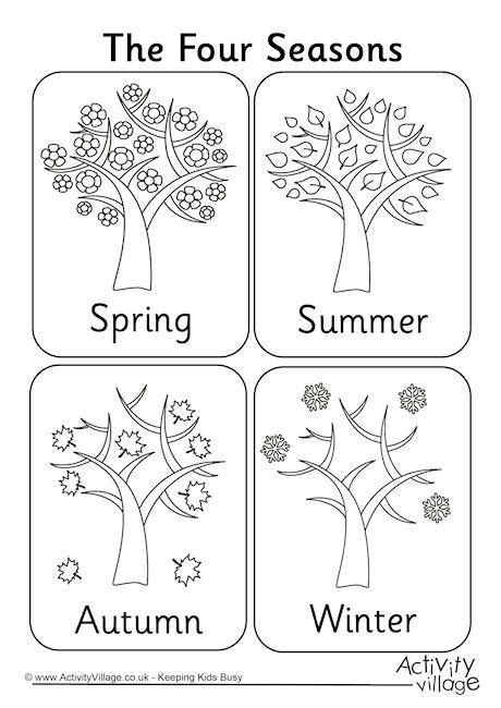 Seasons Worksheets for Preschoolers Four Seasons Colouring Page