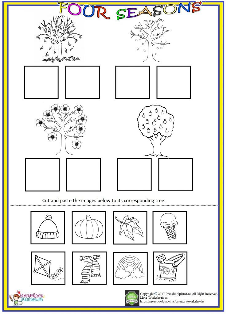 Seasons Worksheets for Preschoolers Four Seasons Cut and Paste Worksheet