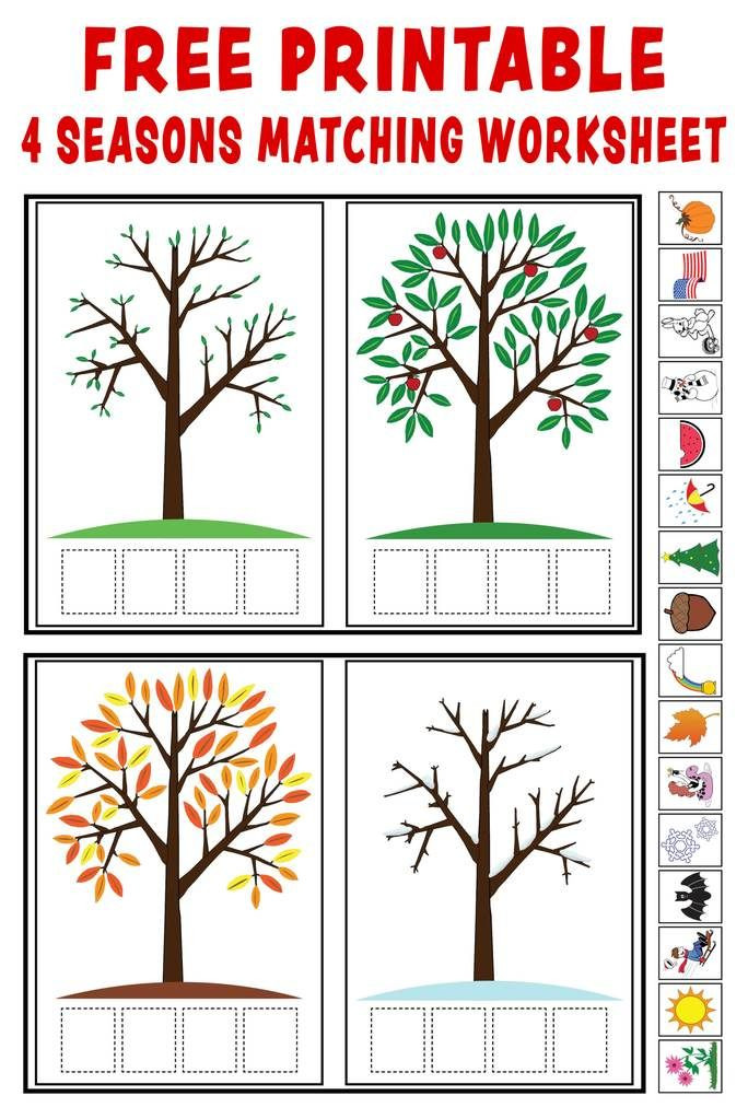 "Seasons Worksheets for Preschoolers Season Match Up"" Printable 4 Seasons Matching Worksheet"