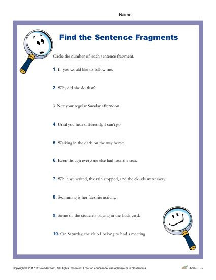 Sentence or Fragment Worksheet which Of the Following is A Sentence Fragment