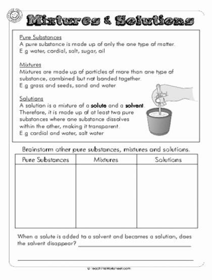 Separation Of Mixtures Worksheet 50 Mixtures and solutions Worksheet Answers In 2020