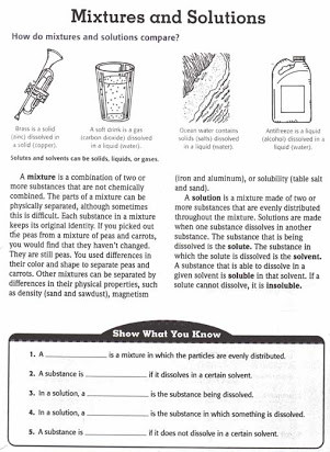 Separation Of Mixtures Worksheet Free Mixtures and solutions Worksheets