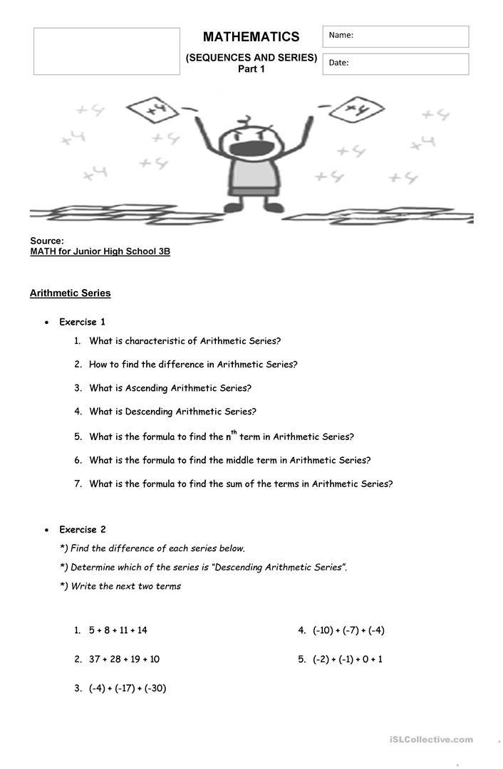 Sequences and Series Worksheet Math Sequences & Series English Esl Worksheets for