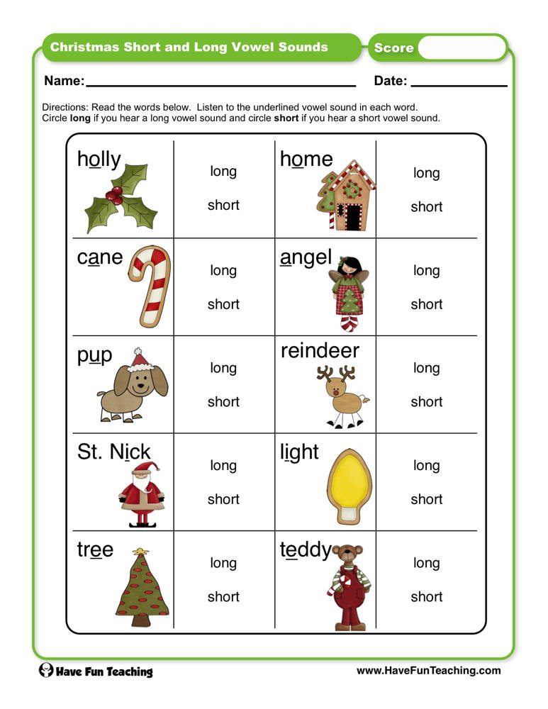 Short and Long Vowels Worksheet Christmas Short and Long Vowel sounds Worksheet