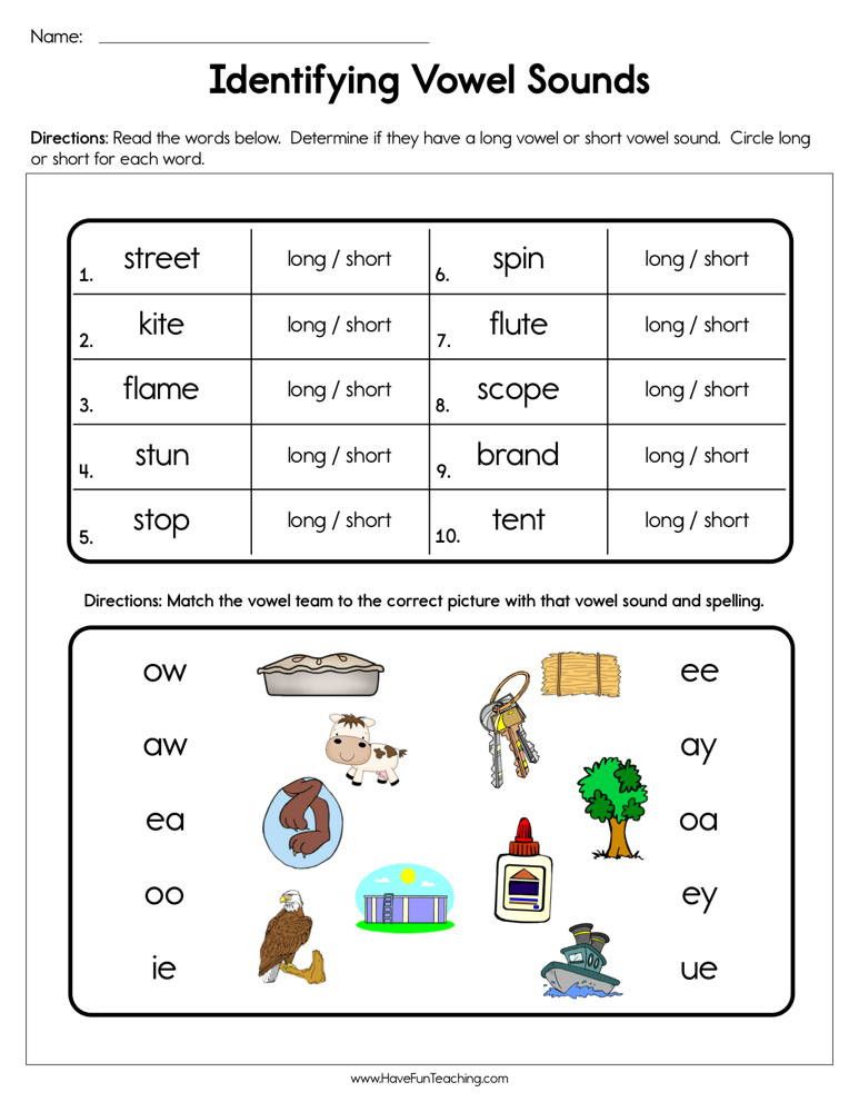 Short and Long Vowels Worksheet Identifying Vowel sounds Worksheet